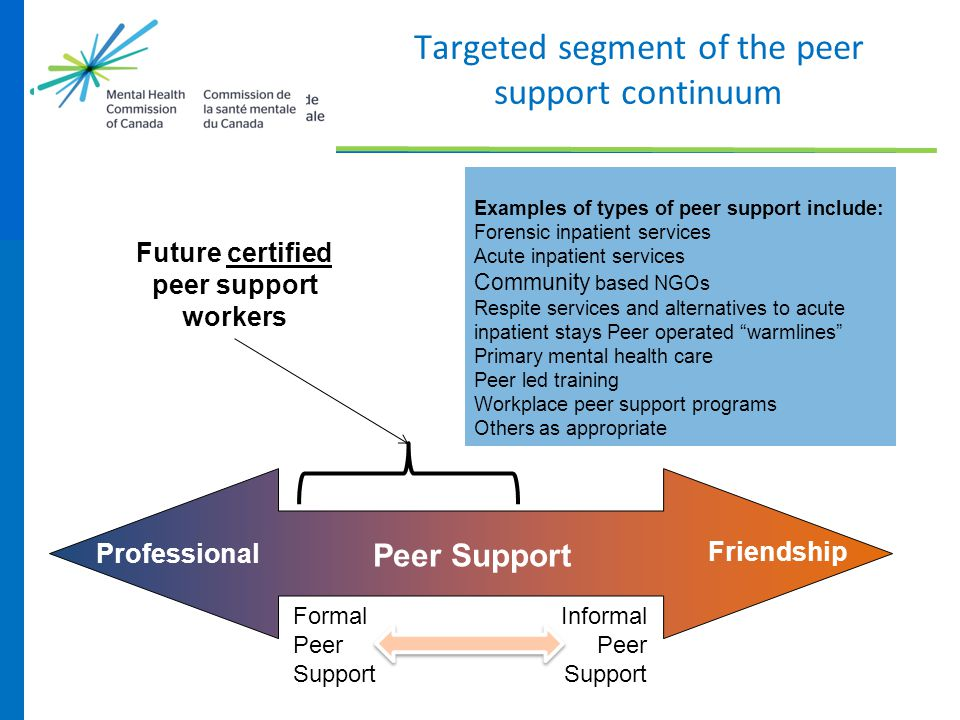 Targeted segment of the peer support continuum