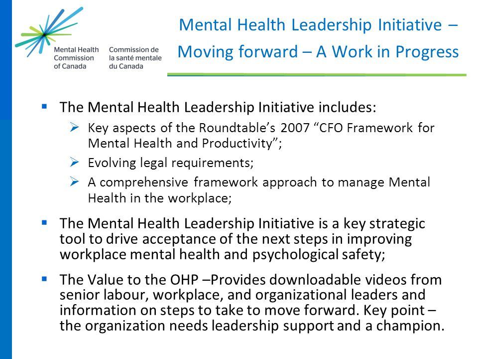 Mental Health Leadership Initiative – Moving forward – A Work in Progress