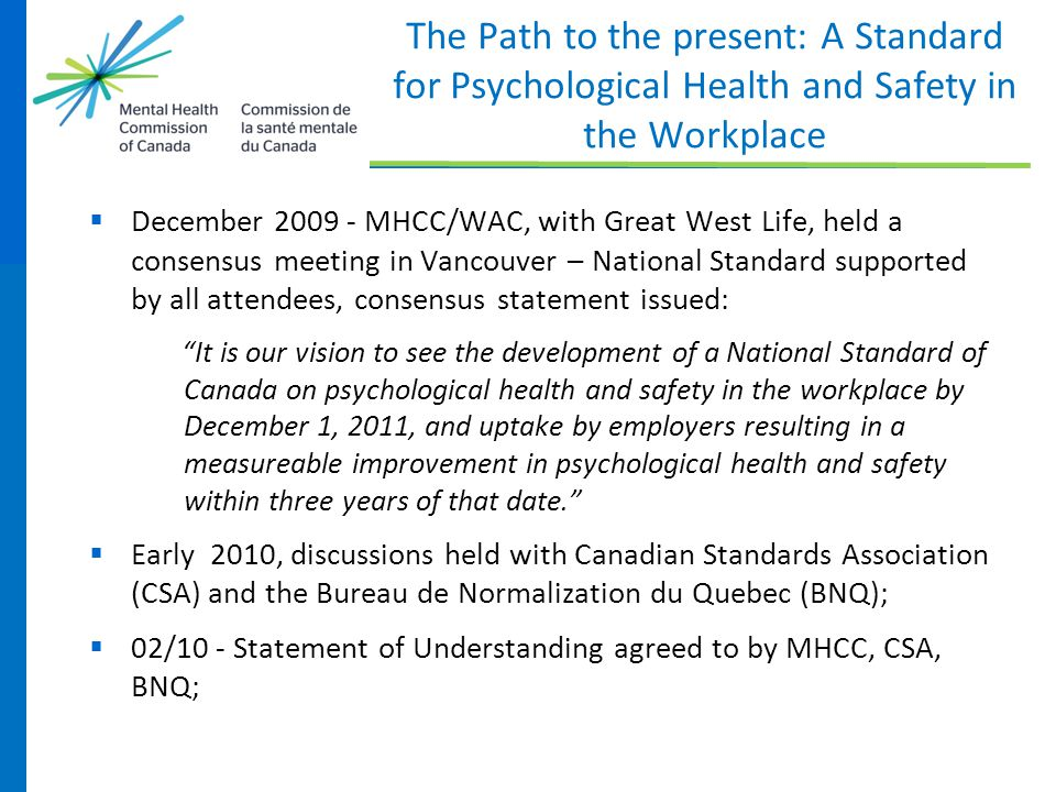 The Path to the present: A Standard for Psychological Health and Safety in the Workplace