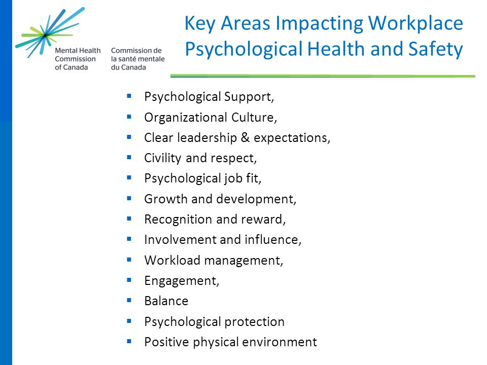 Key Areas Impacting Workplace Psychological Health and Safety