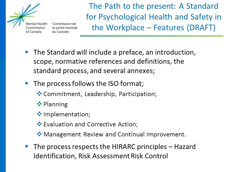 The Path to the present: A Standard for Psychological Health and Safety in the Workplace – Features (DRAFT)