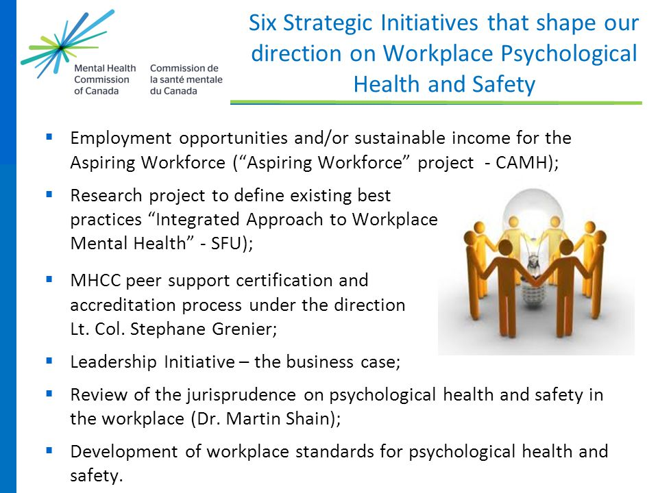 Six Strategic Initiatives that shape our direction on Workplace Psychological Health and Safety
