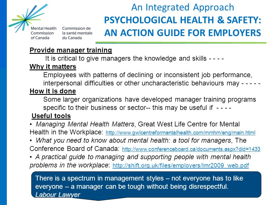 An Integrated Approach PSYCHOLOGICAL HEALTH & SAFETY: AN ACTION GUIDE FOR EMPLOYERS