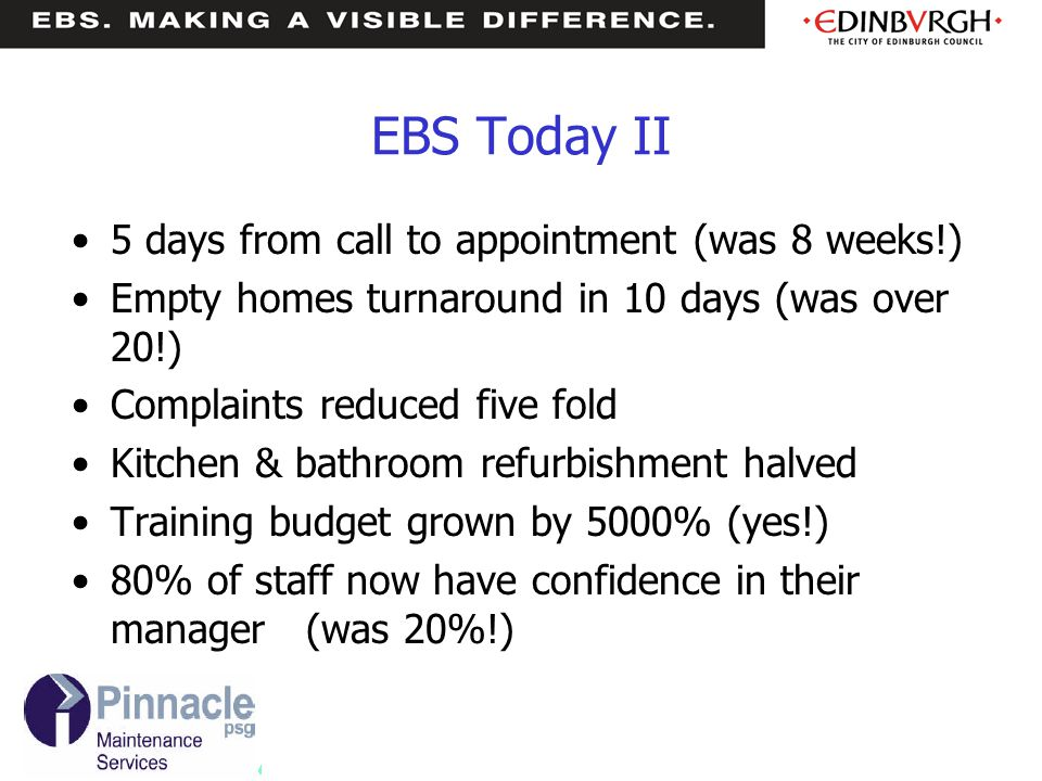 EBS Today II 5 days from call to appointment (was 8 weeks!)