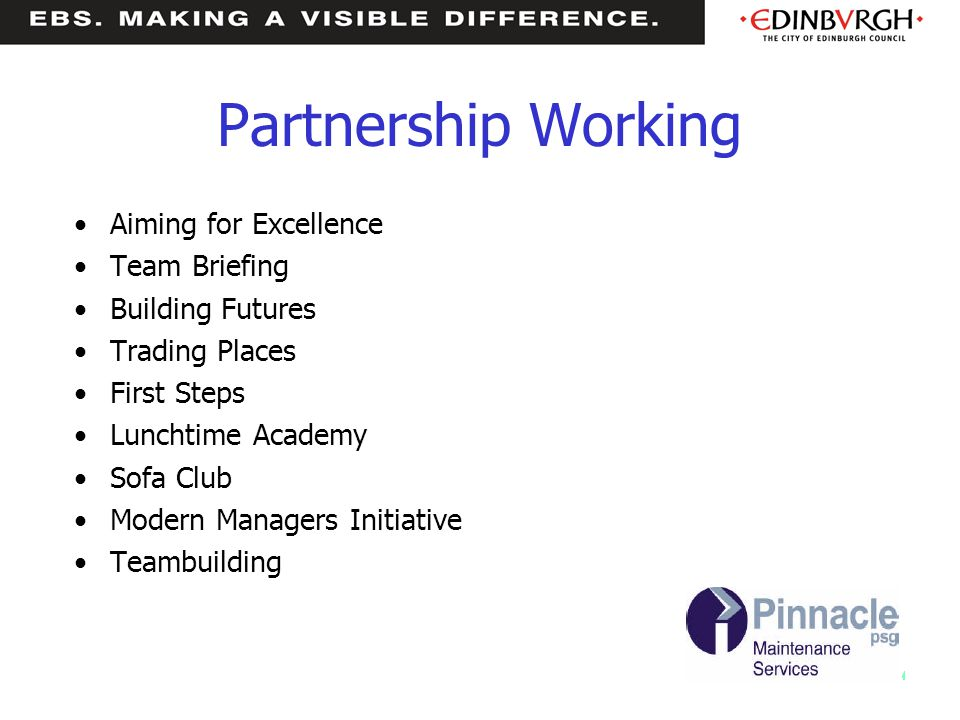 Partnership Working Aiming for Excellence Team Briefing