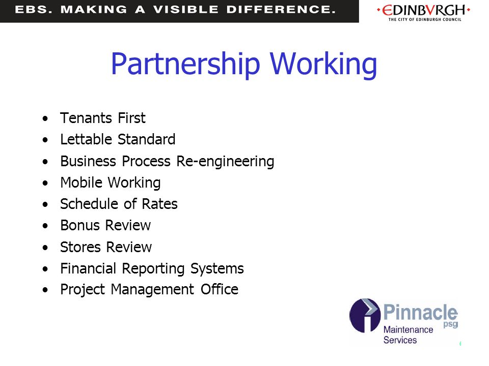 Partnership Working Tenants First Lettable Standard