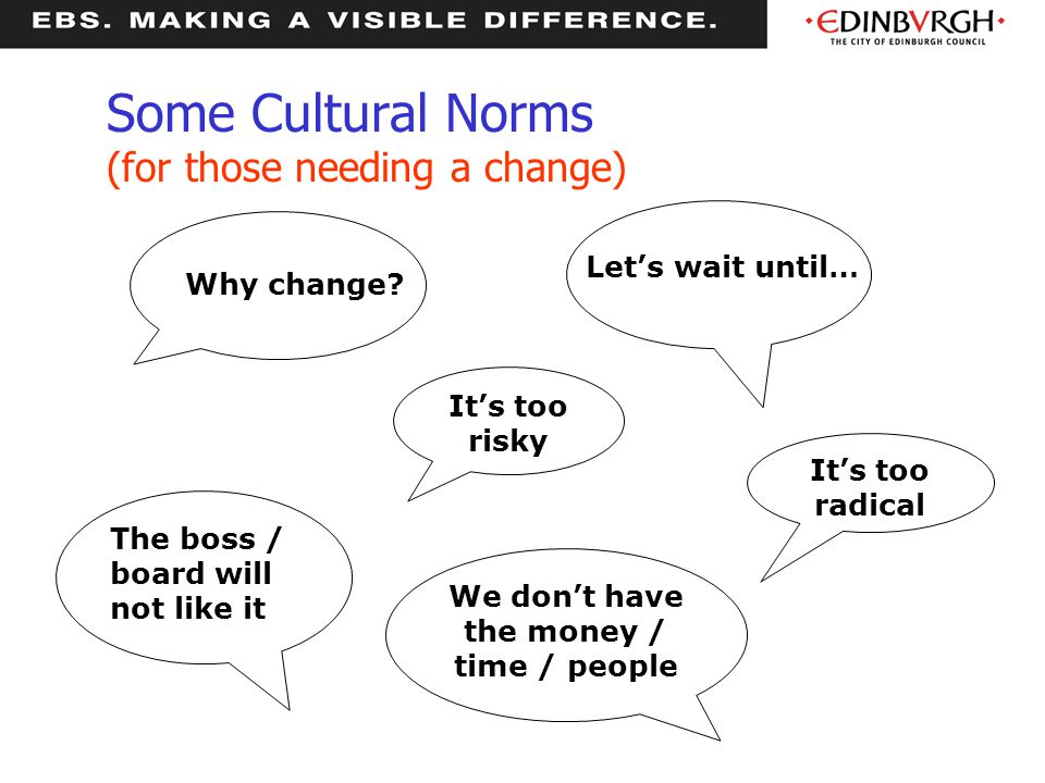 Some Cultural Norms (for those needing a change)