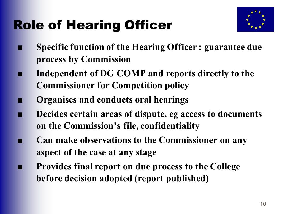 Role of Hearing Officer