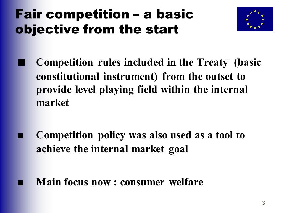 Fair competition – a basic objective from the start