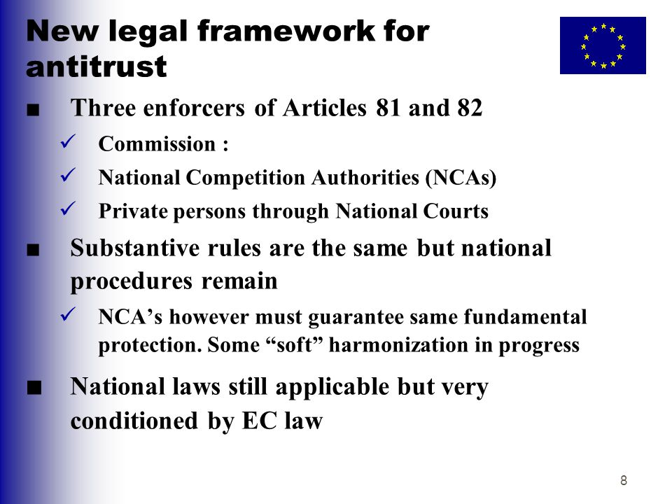 New legal framework for antitrust