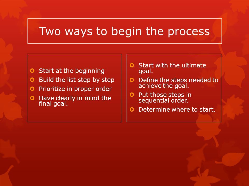 Two ways to begin the process