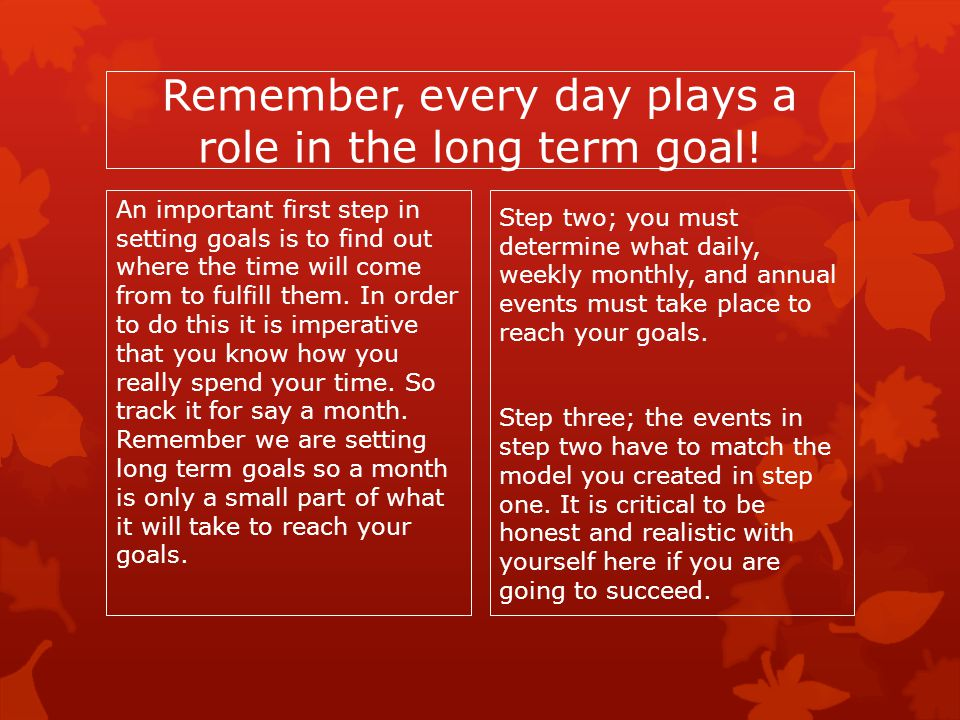 Remember, every day plays a role in the long term goal!