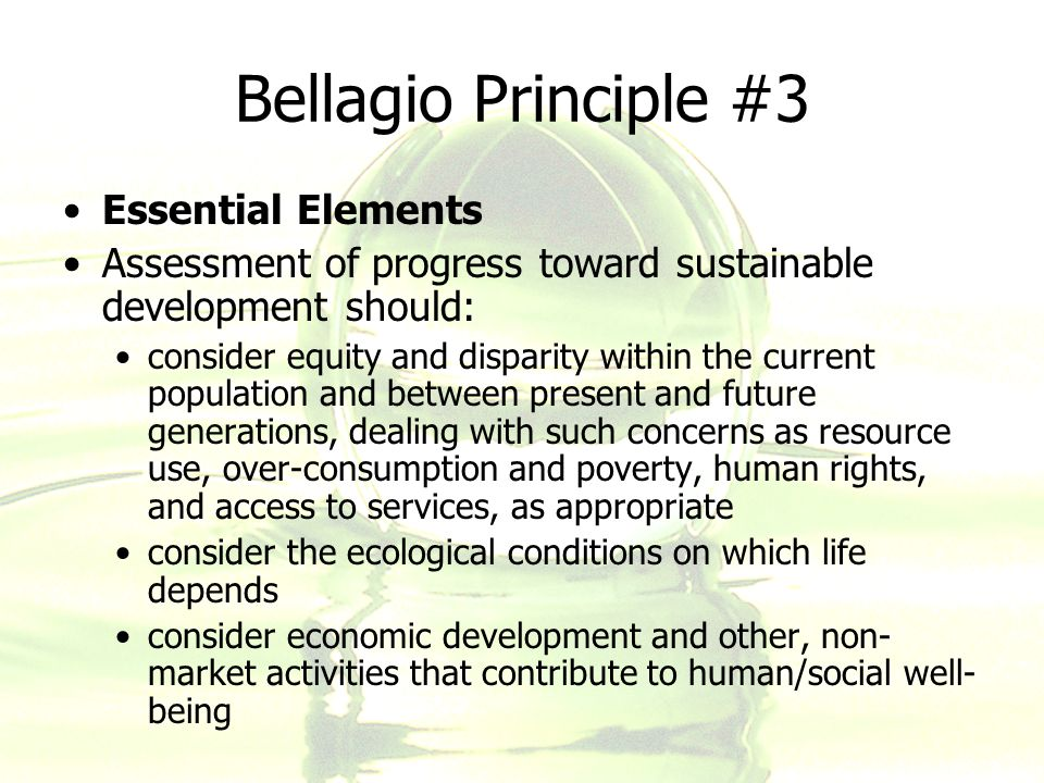 Bellagio Principle #3 Essential Elements