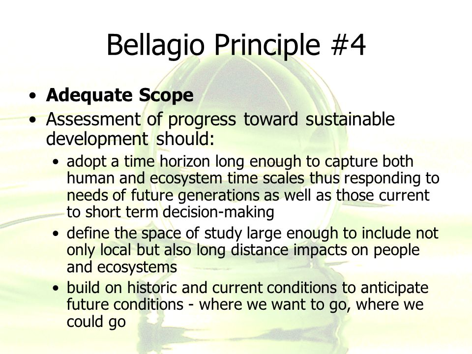 Bellagio Principle #4 Adequate Scope