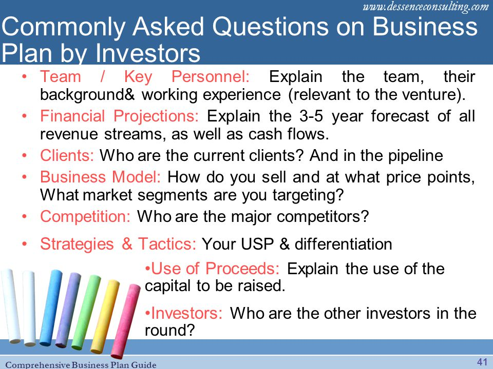 Commonly Asked Questions on Business Plan by Investors