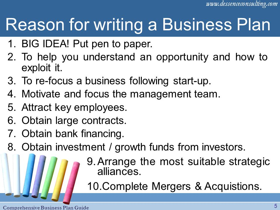 Reason for writing a Business Plan