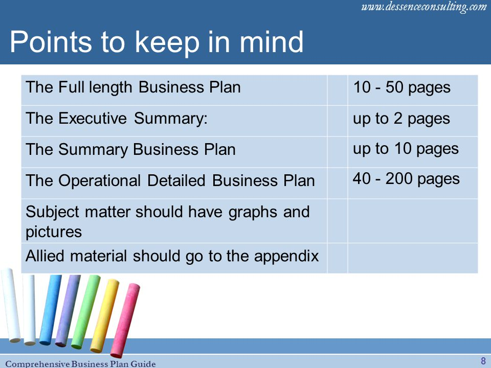 Points to keep in mind The Full length Business Plan 10 - 50 pages