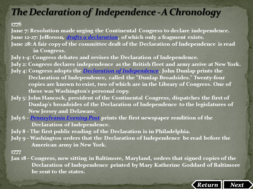 The Declaration of Independence - A Chronology