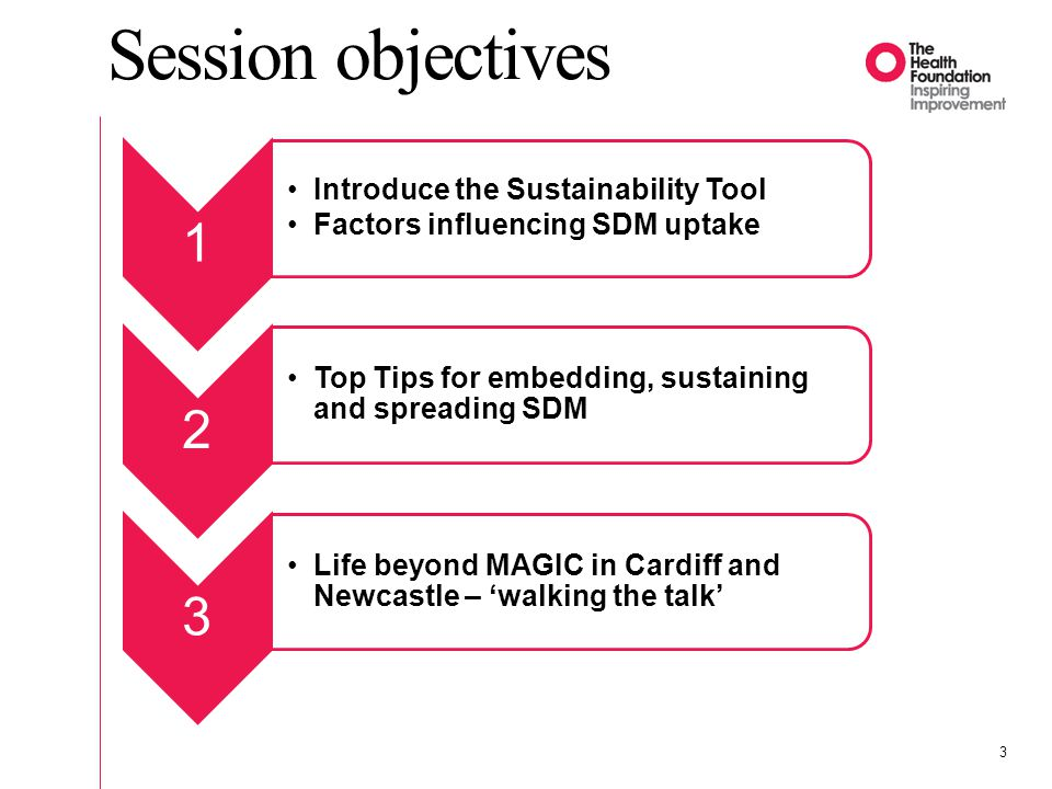 Session objectives 1 2 3 Introduce the Sustainability Tool