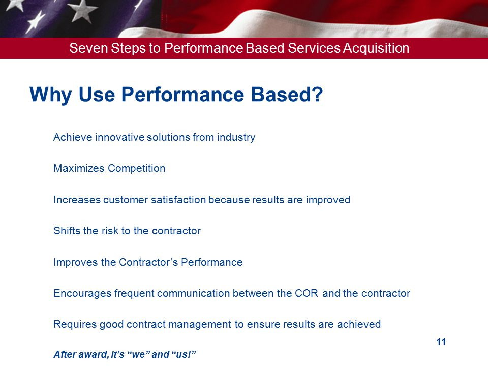 Why Use Performance Based