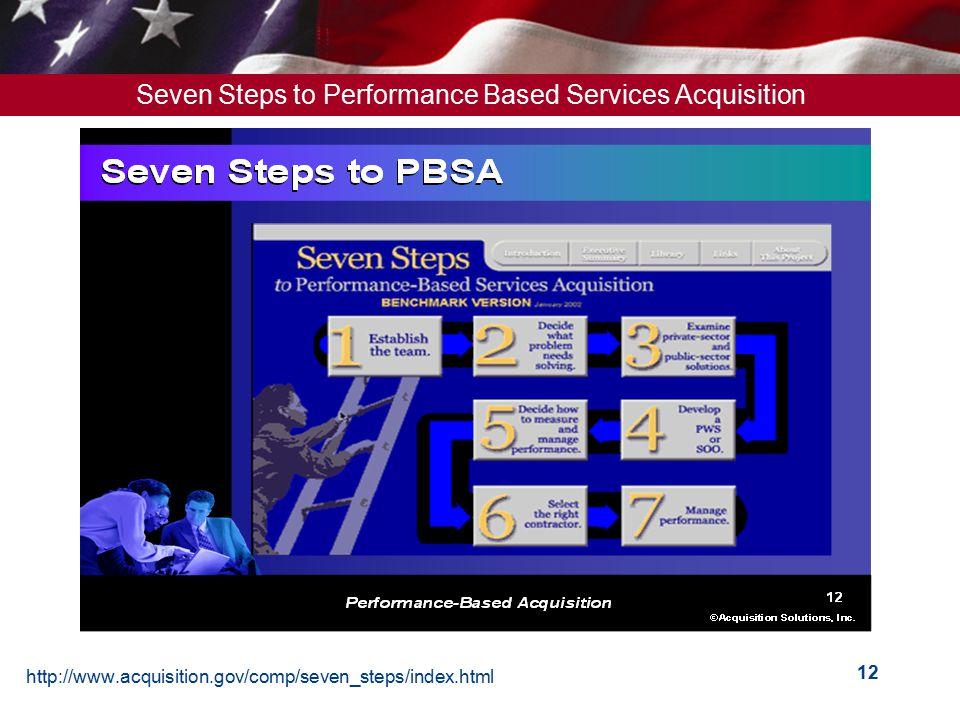 http://www.acquisition.gov/comp/seven_steps/index.html 12