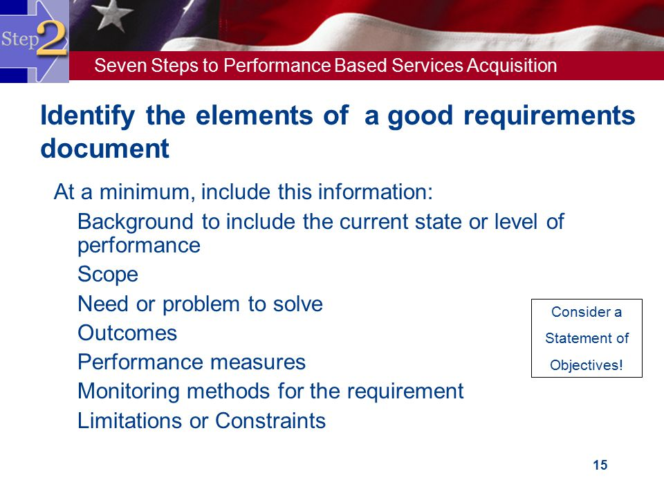 Identify the elements of a good requirements document