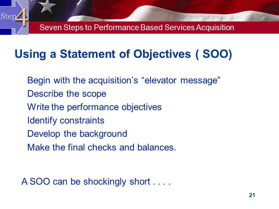 Using a Statement of Objectives ( SOO)