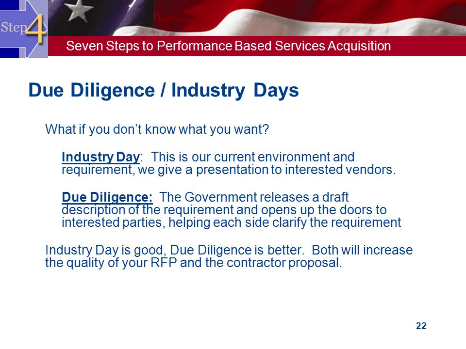Due Diligence / Industry Days