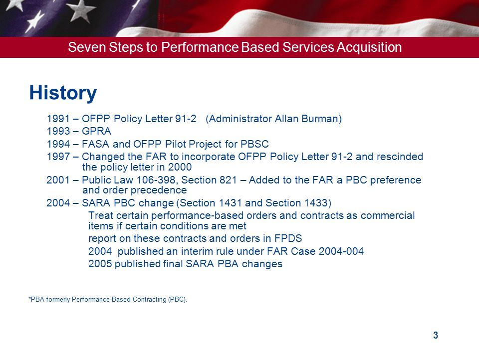 History 1991 – OFPP Policy Letter 91-2 (Administrator Allan Burman)