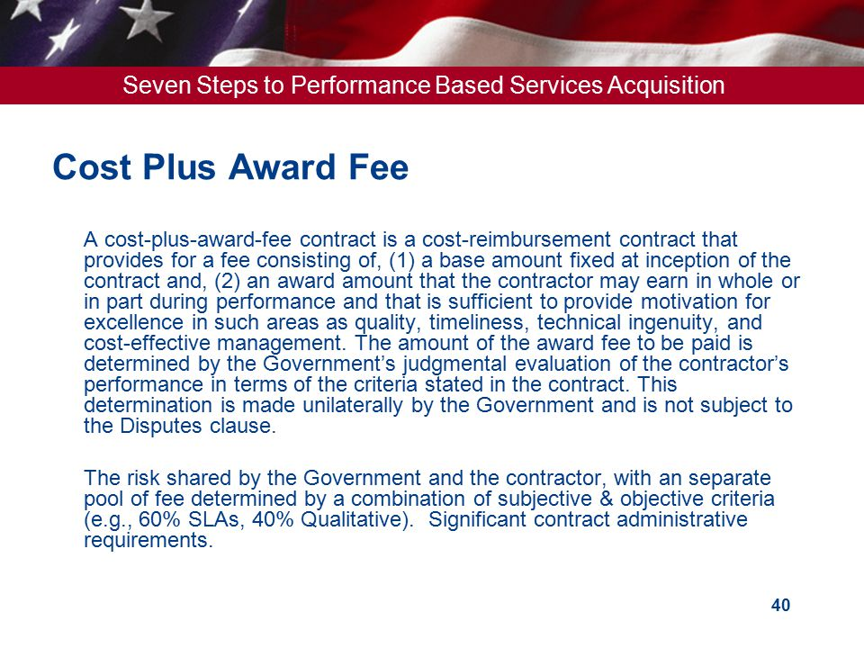 U s general services administration ppt download for Cost plus contract example