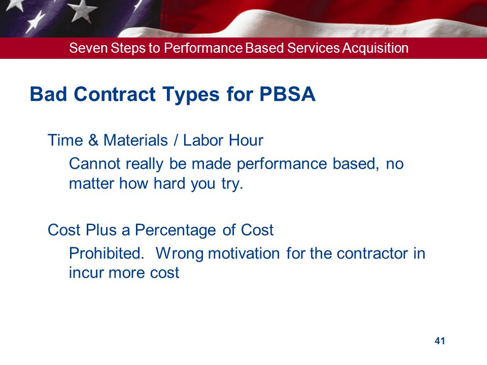 Bad Contract Types for PBSA