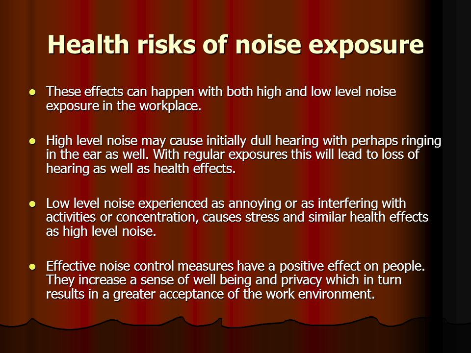 Health risks of noise exposure