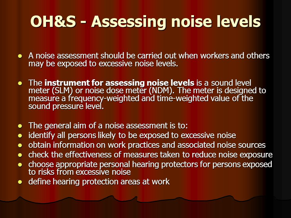 OH&S - Assessing noise levels