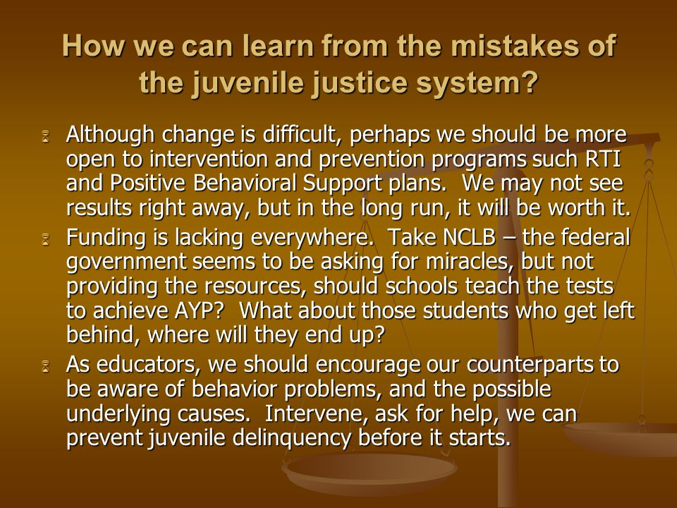 How we can learn from the mistakes of the juvenile justice system