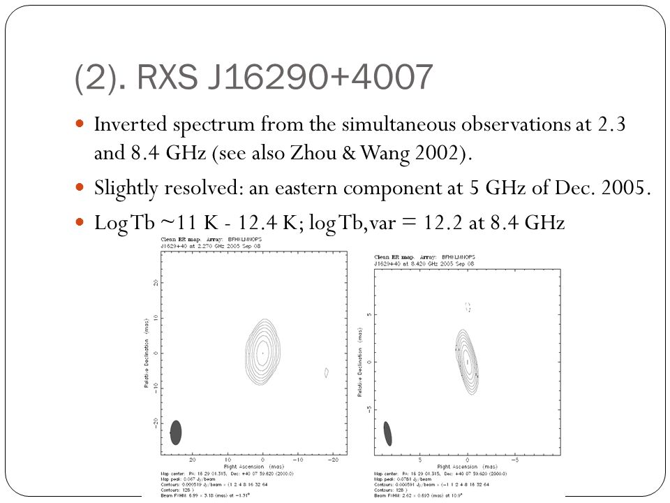 (2). RXS J16290+4007 Inverted spectrum from the simultaneous observations at 2.3 and 8.4 GHz (see also Zhou & Wang 2002).