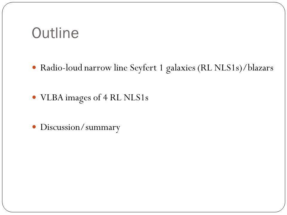 Outline Radio-loud narrow line Seyfert 1 galaxies (RL NLS1s)/blazars