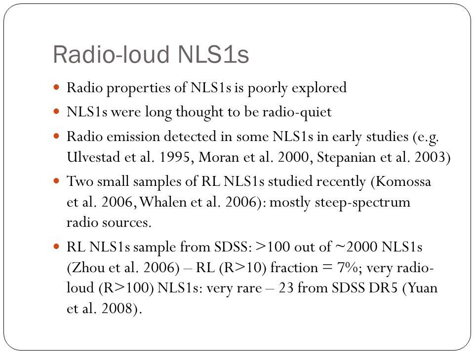 Radio-loud NLS1s Radio properties of NLS1s is poorly explored