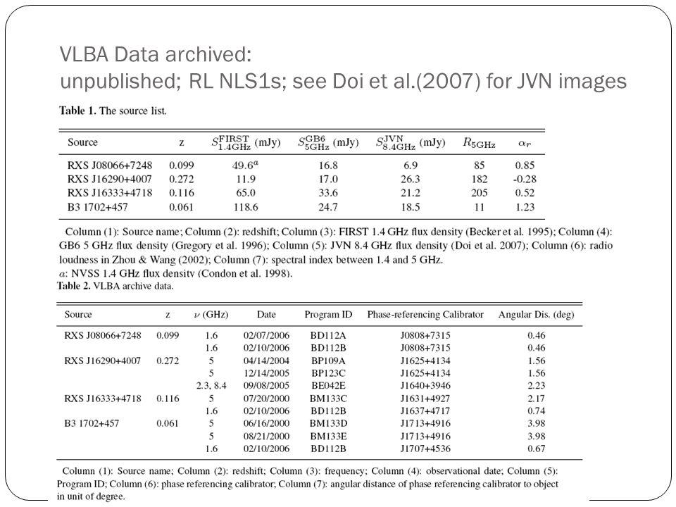 VLBA Data archived: unpublished; RL NLS1s; see Doi et al