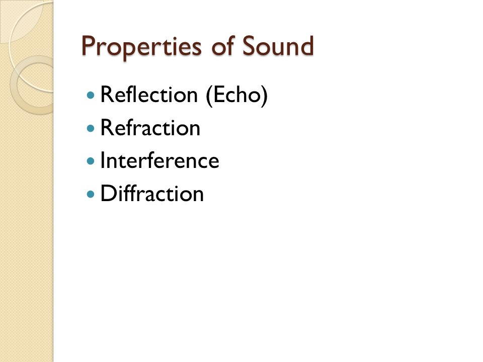 Properties of Sound Reflection (Echo) Refraction Interference