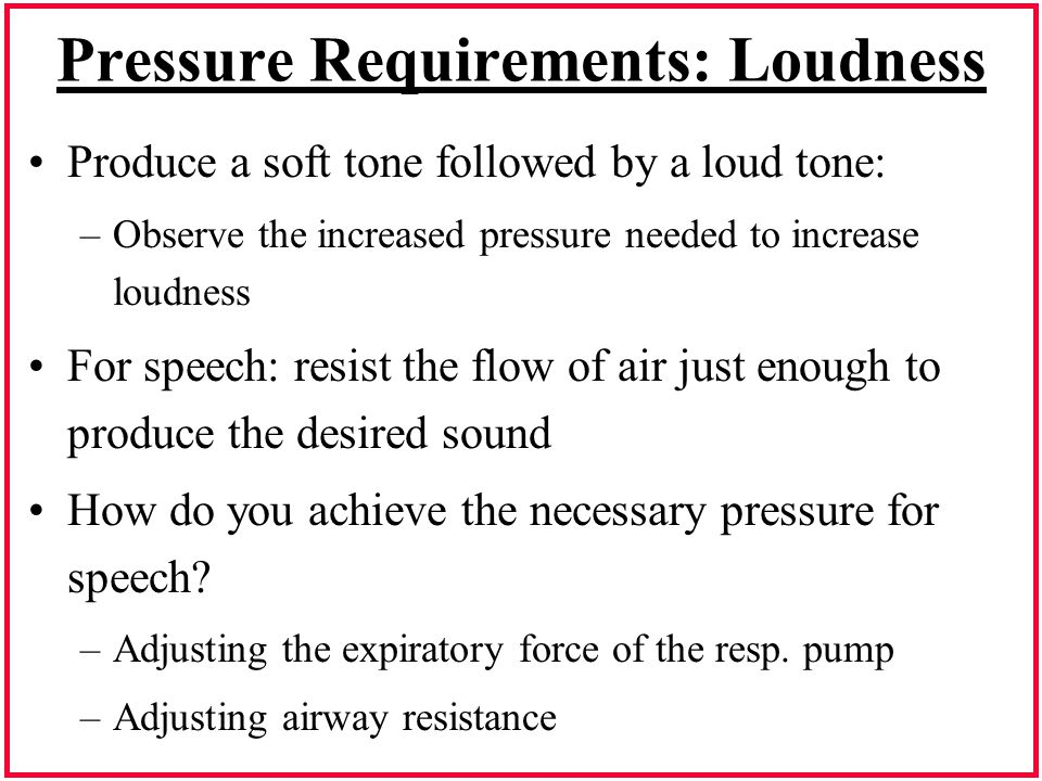 Pressure Requirements: Loudness