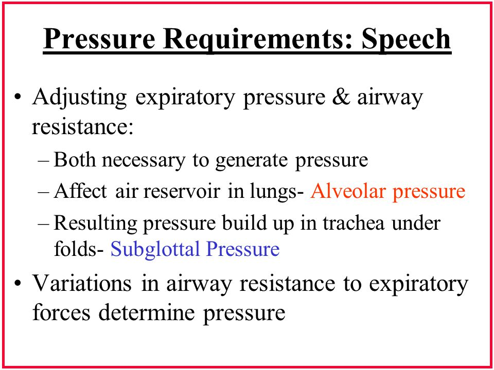 Pressure Requirements: Speech