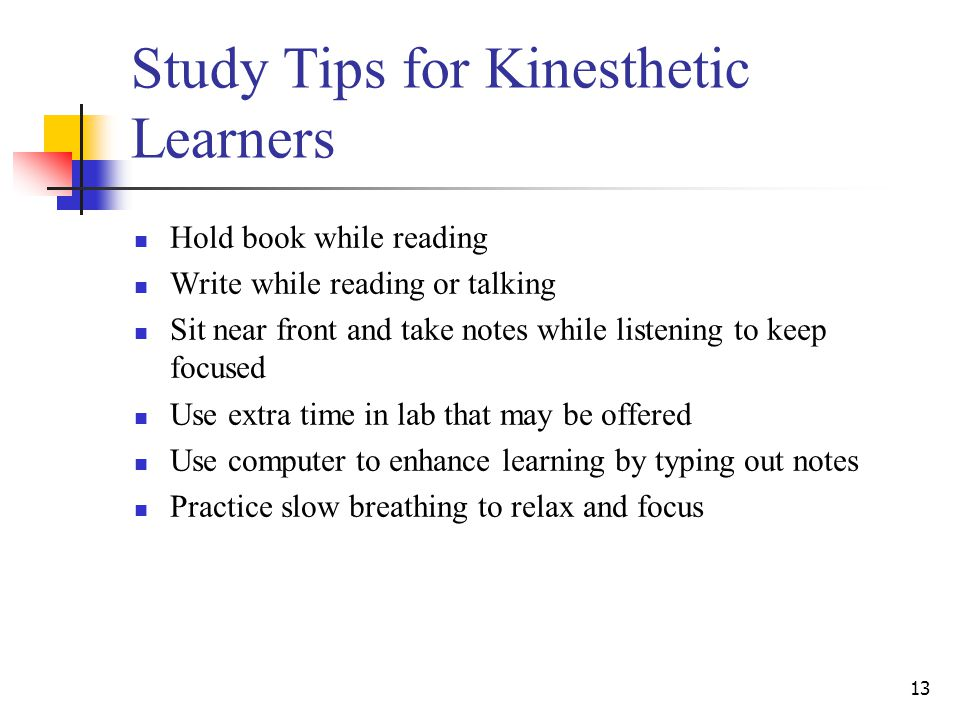 Study Tips for Kinesthetic Learners