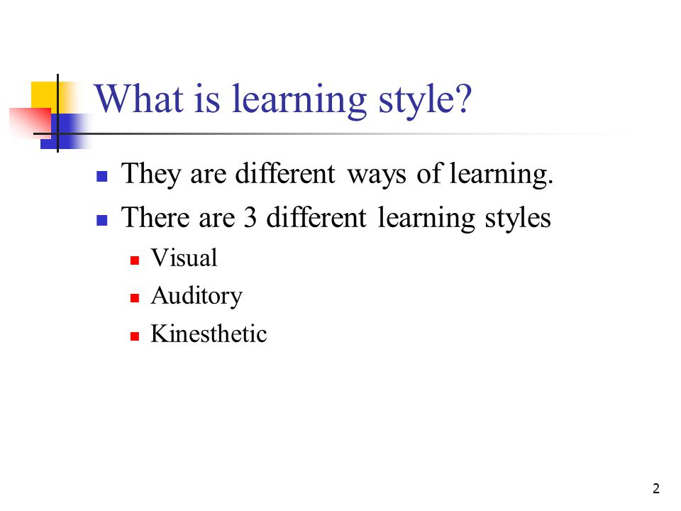 What is learning style They are different ways of learning.