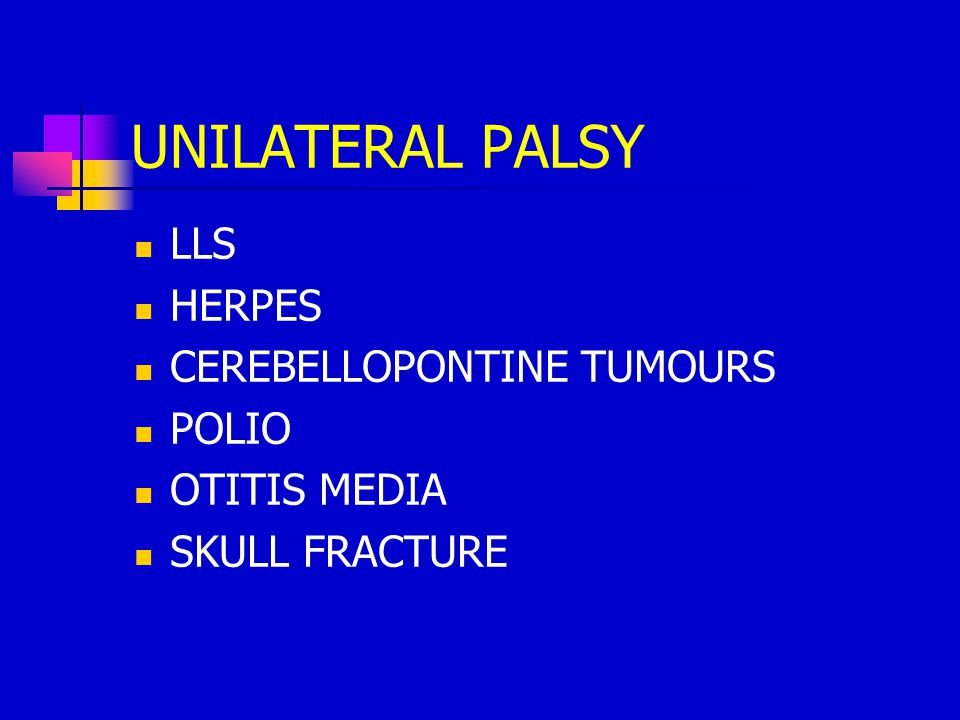 UNILATERAL PALSY LLS HERPES CEREBELLOPONTINE TUMOURS POLIO