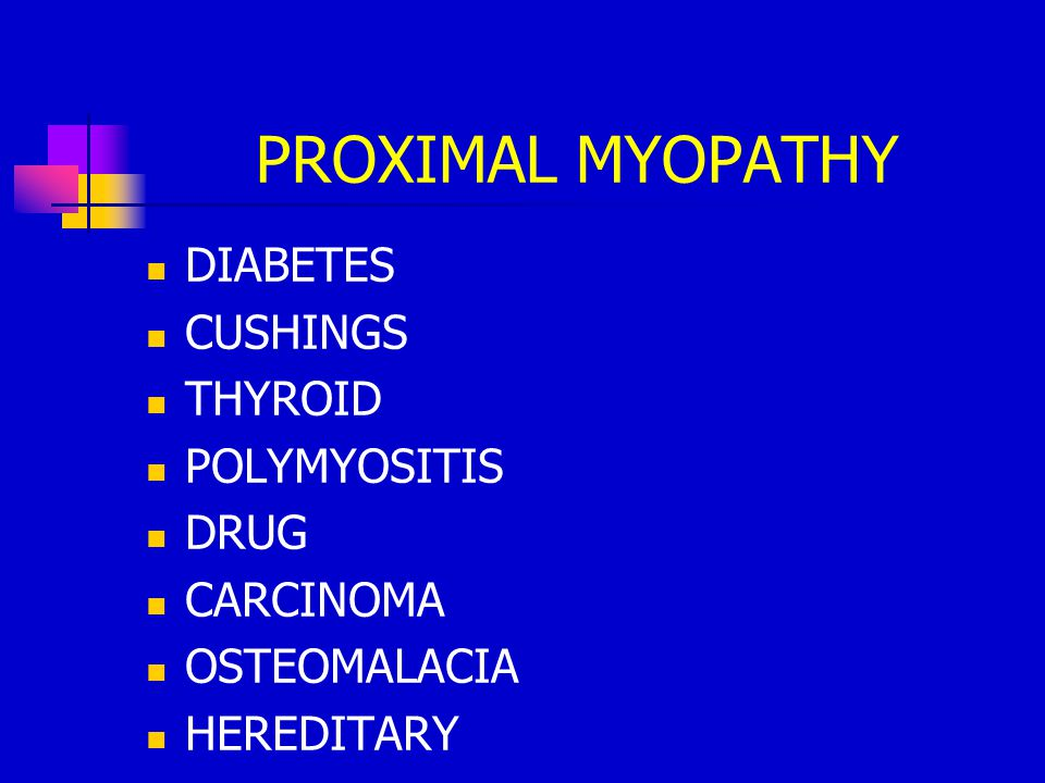 PROXIMAL MYOPATHY DIABETES CUSHINGS THYROID POLYMYOSITIS DRUG