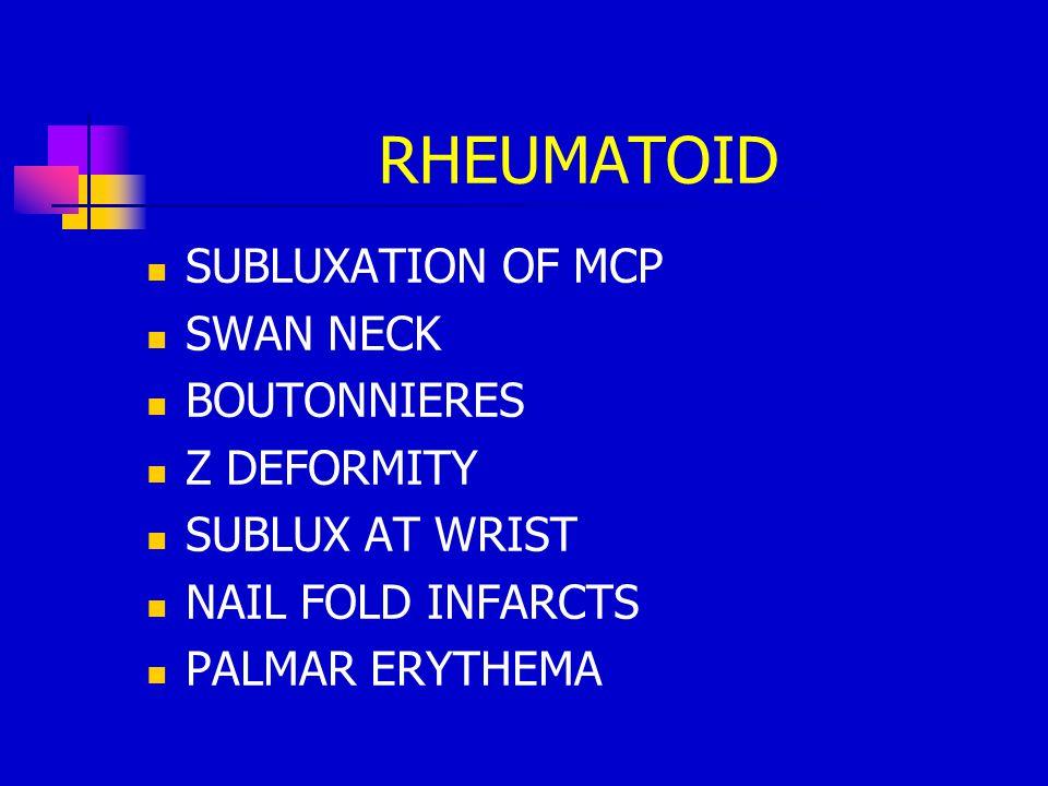 RHEUMATOID SUBLUXATION OF MCP SWAN NECK BOUTONNIERES Z DEFORMITY