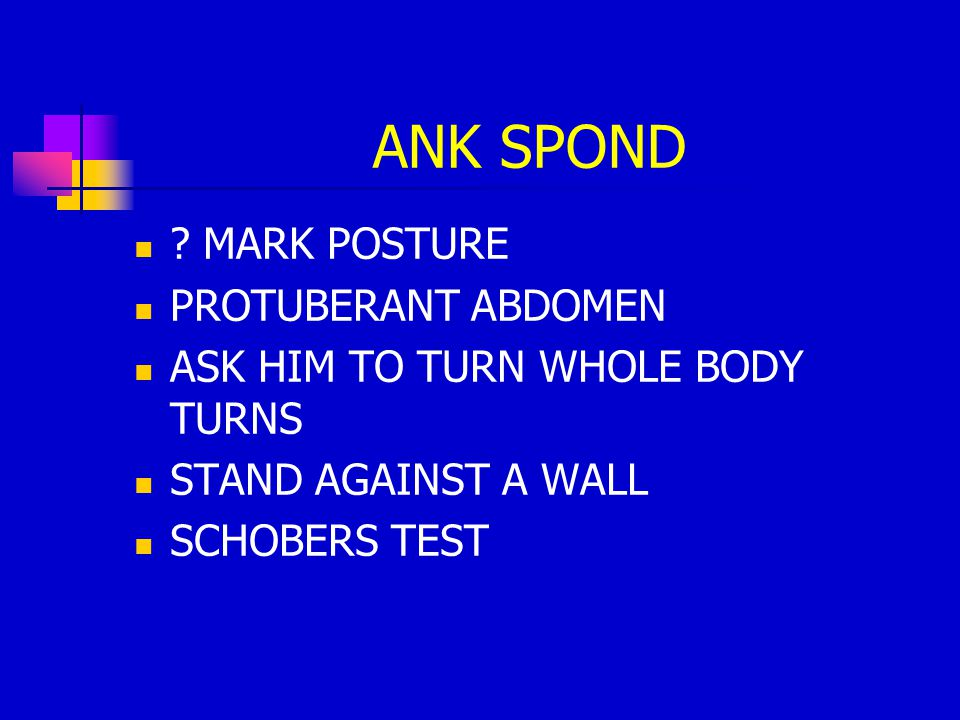 ANK SPOND MARK POSTURE PROTUBERANT ABDOMEN