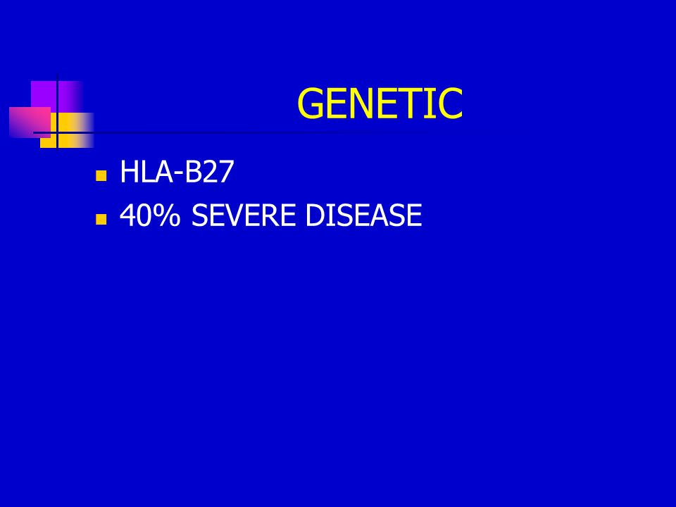 GENETIC HLA-B27 40% SEVERE DISEASE