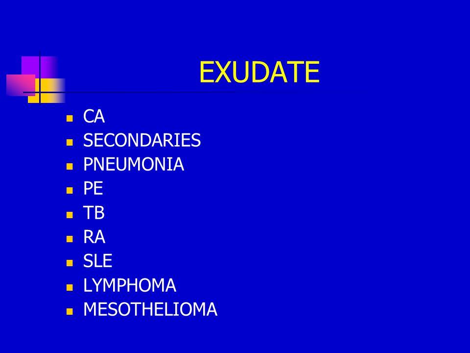 EXUDATE CA SECONDARIES PNEUMONIA PE TB RA SLE LYMPHOMA MESOTHELIOMA