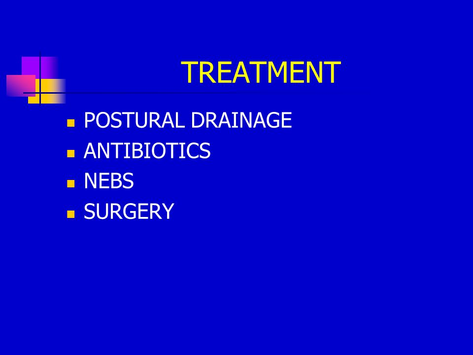 TREATMENT POSTURAL DRAINAGE ANTIBIOTICS NEBS SURGERY